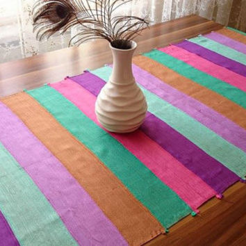 Colorful Silk Table Runner,  Tassel Table Runner, Decorative Table Runner, Boho Table Cover, Multicolor Tablecloth, Handmade Tablecloth