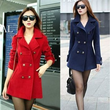 Women's/ladies Slim Double Breasted Wool Blend Trench Coat Jacket Red Blue Coats = 1930510340