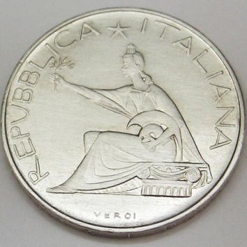 1961 Italian silver coin - 500 Lire - Commemorative coin for the Italian Unification - Italian centenary silver coin - Roman chariot