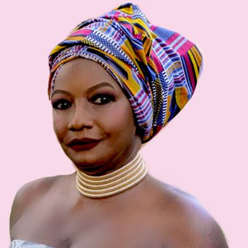 African Kente Print Headwrap ~  The donna forte