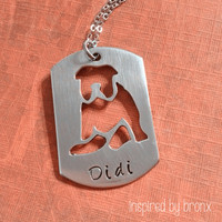 Dog Necklace, Personalized Dog Necklace, French Bulldog Necklace, Frenchie Jewelry, Animal Jewelry, hand stamped silhouette dog tag