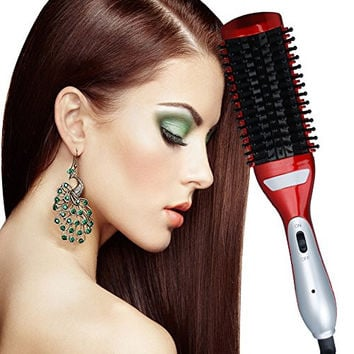 Hair Straightener Hair Curler 2 in 1 Hair Styler Brush,Anion instant Magic Silky Straight Hair Styling, Anti Scald Teeth,Anti Static Ceramic Heating Detangling Hair Brush Red