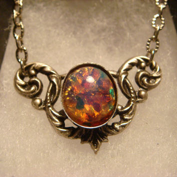 Victorian Style Fire Opal Necklace in Antique Silver (1775)