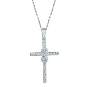 Sterling Silver .33 cttw Diamond 18-Inch Chain Infinity Cross Pendant Necklace