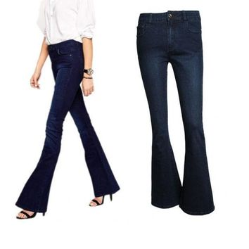 PEAPHY3 High Quality Fahion Women Vintage High Waist Wash Flare Bell Bottom Skinny Long Jeans Denim Trousers Pants
