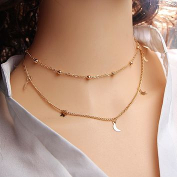 Gold Color Star Moon Necklace for Women Multi Layer Leaf