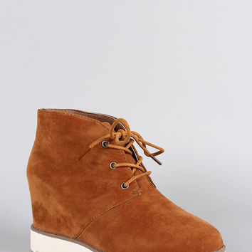 Dollhouse Suede Round Toe Lace Up Desert Wedge Booties