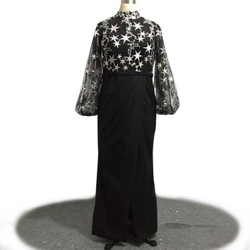 Black Tulle Prom Dress Long Puff Sleeve Star Printing Special Occasion Long Evening Dress