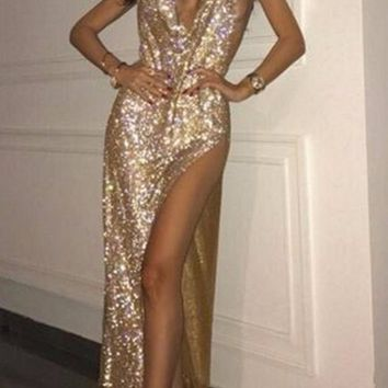 Remember Tonight Gold Rhinestone Diamanté Mesh Metallic Sleeveless Spaghetti Strap V Neck Backless Cut Out Slit Maxi Dress