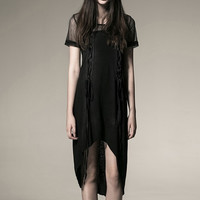 Punk Black Cotton Knit Sheath Dress