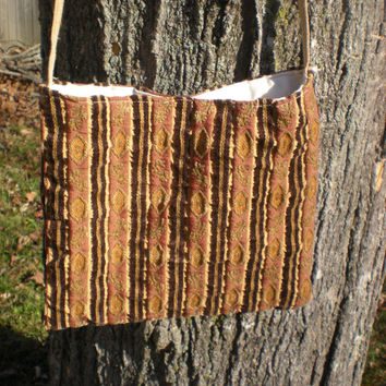 simple messenger bag of vintage upholstery fabric, fully lined with snap, free shipping within the US