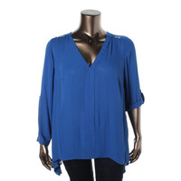 NY Collection Womens Plus Hi-Low V-Neck Blouse