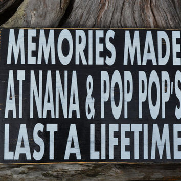 Grandparents Sign Personalized Grandparents Gift Wood Sign Rustic Primitive Custom Sign Home Decor Wall Hanging Memories Grandparents House