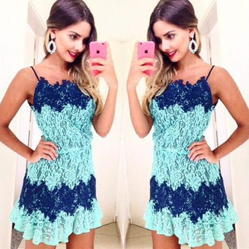 Summer Fashion Multicolor Lace Sleeveless Strap Mini Dress