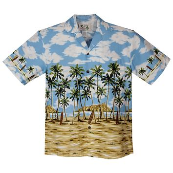 Diamod Head Blue Border Hawaiian Shirt