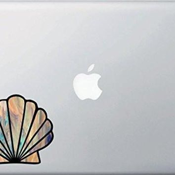Scallop Seashell - Shell - Stained Glass Style Vinyl Macbook Laptop Decal -