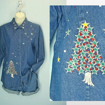 Vintage 80s Ugly Christmas Denim Shirt / Denim Blouse / Christmas Tree