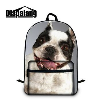 Girls bookbag Dispalang Pug Puppy Dog 3D Printing Backpack for teen girls School Bookbags Husky Schoolbag Children Cute Mochilas Bagpack boys AT_52_3