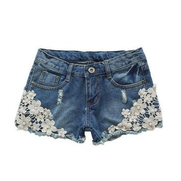 women s slim fit crochet lace hole cute denim shorts  number 1