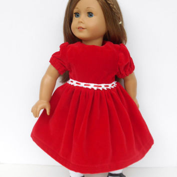 18 Inch Doll Clothes,  Red Velveteen Doll Dress, Christmas Doll Dress, Winter Doll Clothes, fits American Girl Dolls