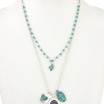 Double layered heart pendant charm necklace set