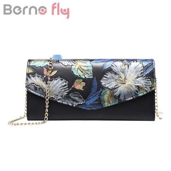 Berno fly Women Genuine Leather Messenger Bag Nation Style Hand Painted flower Chain bags for ladies Small Envelope Clutch Bag
