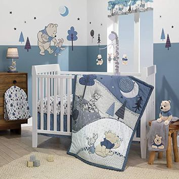 Lambs & Ivy Disney Baby Forever Pooh Blue/Gray Bear 3-Piece Baby Crib Bedding Set