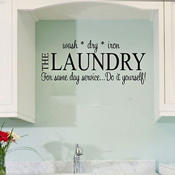 Laundry Wash Dry Iron Vinyl Wall Words Decal Sticker Graphic