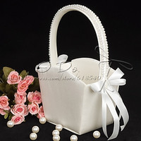 Free Shipping Flower Girl Basket in Ivory Satin With Pearl Lined Handle Wedding Decoration Party Ceremony Supplies