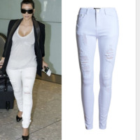 Women's wear popular wear pencil pants white hole high-waisted trousers pants