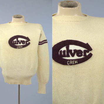 1940s Crew Sweater Wilson Sports Equipment Culver Oregon Lettermans Stadium Sweater