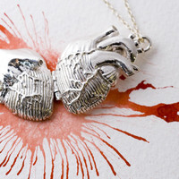Anatomical  Heart  Locket in Sterling Silver