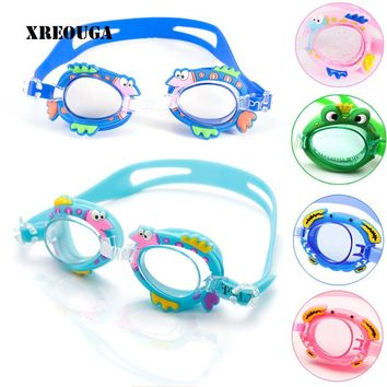 Cartoon Kids Baby Boys Girls Waterproof Swimming Goggles Anti-fog Cute Animal Silicone Glasses Adjustable Protect Eyes Glasses