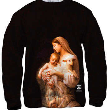 """Virgin Mary Jesus and a lamb"""