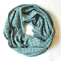 plaid green infinity scarf, scarf, scarves, long scarf, loop scarf, gift