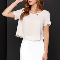 Wake Me Scallop Light Beige Crop Top