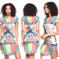Printed Shirt Dress with Side Slits