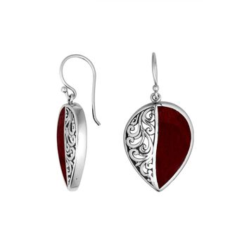 AE-1090-CR Sterling Silver Pears Shape Earring With Coral