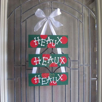 HEAUX HEAUX HEAUX Merry Christmas-  Door Decoration- Wreath- New Orleans, Southern, Cajun style- Green Red polka dots- Gold fleur de lis