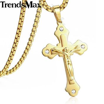 Rhinestone CZ Multilayer Gold Cross Christ Jesus Pendant Necklace for Men Women Stainless Steel Chain Gift Jewelry 55cm KPM140