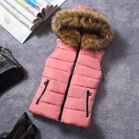 2015 fall and Winter school student girl down cotton vests women short slim vest waistcoat with a faux fur hooded free shipping