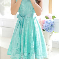 Floral V-Neck Cap Sleeve Lace Dress