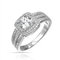 Bling Jewelry Micropave Triple Shank Cushion Engagement Ring CZ 925 Sterling Silver