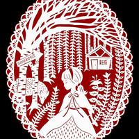 Little Red Riding Hood - Original Papercut Illustration - Fairy Tale - Red and Black - 8x10 Print