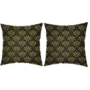 Metallic Gold Art Deco Fan Throw Pillows