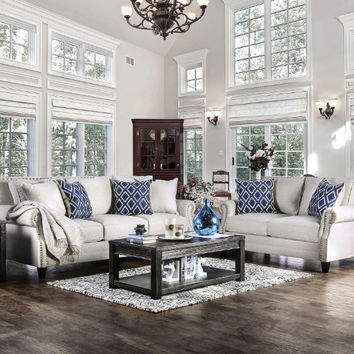Furniture of america SM2672 2 pc Giovanni collection ivory linen like fabric upholstered sofa and love seat set with nail head trim
