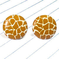 giraffe print earrings - giraffe print jewelry - giraffe print - animal print - animal print earrings - animal print jewelry - giraffe