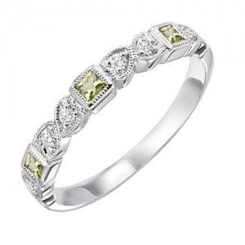 10k white gold diamond and square peridot birthstone ring