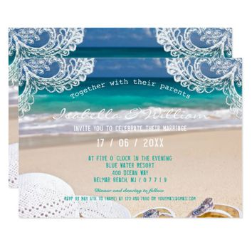 Turquoise Ocean Beach Summer Wedding Invitation