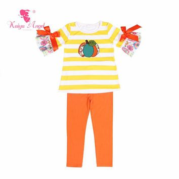 Kaiya Angel Hot Halloween Pumpkin Flower Baby Girl Boy Summer Clothes Back To School Outfit Boutique kids Fall Winter Clothing